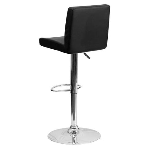 Flash Furniture Contemporary Black Vinyl Adjustable Height Barstool with Panel Back and Chrome Base CH92066BKGG ; Image 4 ; UPC 847254065917