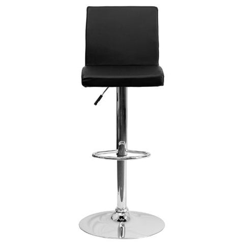 Flash Furniture Contemporary Black Vinyl Adjustable Height Barstool with Panel Back and Chrome Base CH92066BKGG ; Image 5 ; UPC 847254065917