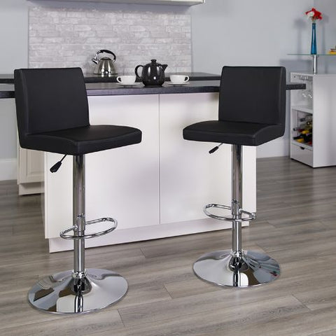 Flash Furniture Contemporary Black Vinyl Adjustable Height Barstool with Panel Back and Chrome Base CH92066BKGG ; Image 2 ; UPC 847254065917