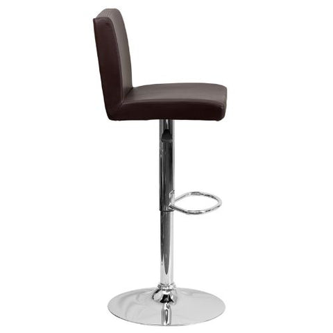 Flash Furniture Contemporary Brown Vinyl Adjustable Height Barstool with Panel Back and Chrome Base CH92066BRNGG ; Image 3 ; UPC 847254065924