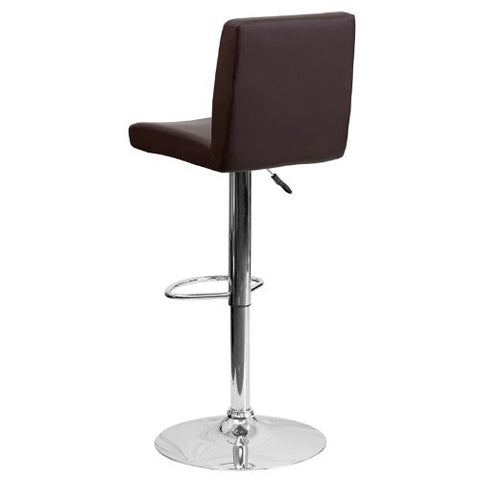 Flash Furniture Contemporary Brown Vinyl Adjustable Height Barstool with Panel Back and Chrome Base CH92066BRNGG ; Image 4 ; UPC 847254065924