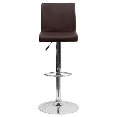 Flash Furniture Contemporary Brown Vinyl Adjustable Height Barstool with Panel Back and Chrome Base CH92066BRNGG ; Image 5 ; UPC 847254065924
