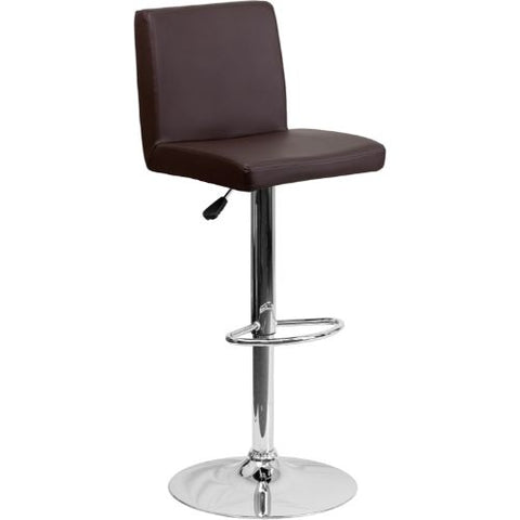 Flash Furniture Contemporary Brown Vinyl Adjustable Height Barstool with Panel Back and Chrome Base CH92066BRNGG ; Image 1 ; UPC 847254065924