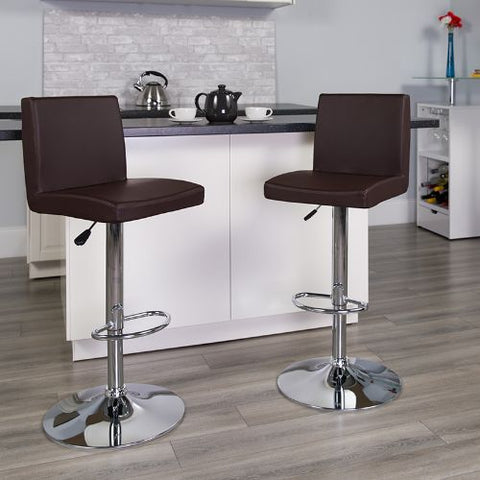 Flash Furniture Contemporary Brown Vinyl Adjustable Height Barstool with Panel Back and Chrome Base CH92066BRNGG ; Image 2 ; UPC 847254065924