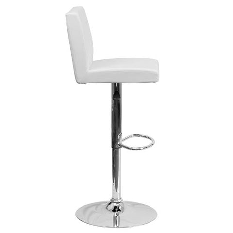 Flash Furniture Contemporary White Vinyl Adjustable Height Barstool with Panel Back and Chrome Base CH92066WHGG ; Image 2 ; UPC 847254065986