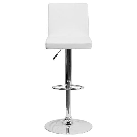 Flash Furniture Contemporary White Vinyl Adjustable Height Barstool with Panel Back and Chrome Base CH92066WHGG ; Image 4 ; UPC 847254065986