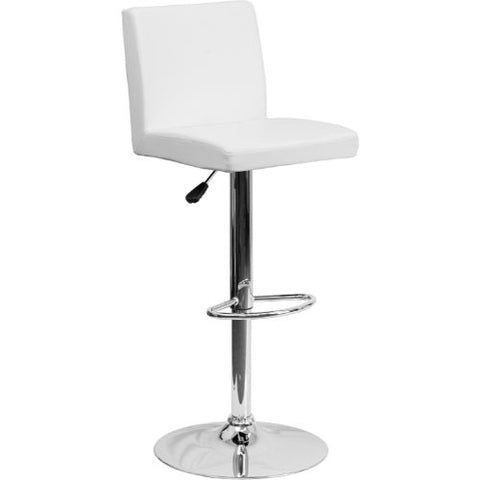 Flash Furniture Contemporary White Vinyl Adjustable Height Barstool with Panel Back and Chrome Base CH92066WHGG ; Image 1 ; UPC 847254065986