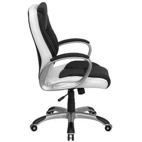 Flash Furniture Mid-Back Black and White Leather Executive Swivel Office Chair with Arms CHCX0217MGG ; Image 2 ; UPC 847254009355