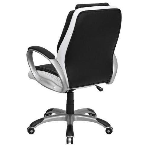 Flash Furniture Mid-Back Black and White Leather Executive Swivel Office Chair with Arms CHCX0217MGG ; Image 3 ; UPC 847254009355