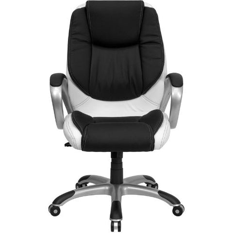 Flash Furniture Mid-Back Black and White Leather Executive Swivel Office Chair with Arms CHCX0217MGG ; Image 4 ; UPC 847254009355