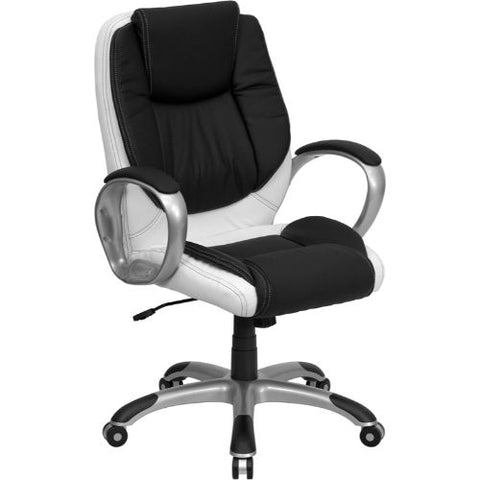 Flash Furniture Mid-Back Black and White Leather Executive Swivel Office Chair with Arms CHCX0217MGG ; Image 1 ; UPC 847254009355