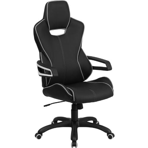 Flash Furniture High Back Black Vinyl Executive Swivel Office Chair with White Trim and Arms CHCX0699H01GG ; Image 1 ; UPC 889142011040