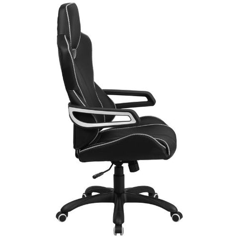 Flash Furniture High Back Black Vinyl Executive Swivel Office Chair with White Trim and Arms CHCX0699H01GG ; Image 2 ; UPC 889142011040