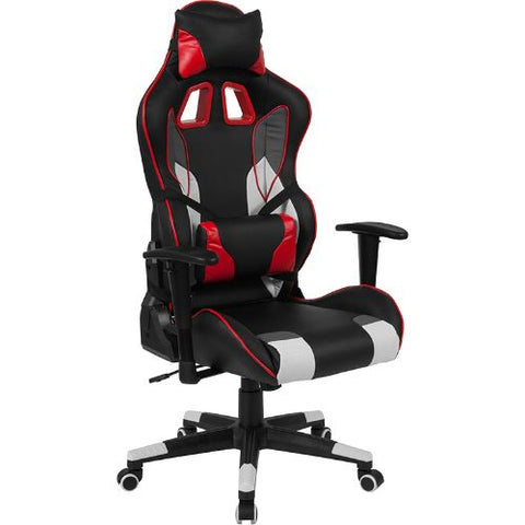 Flash Furniture Cumberland Comfort Series High Back Black, White, Gray & Red Reclining Racing/Gaming Office Chair with Lumbar Support CHCX1050HGG ; Image 1 ; UPC 889142258001