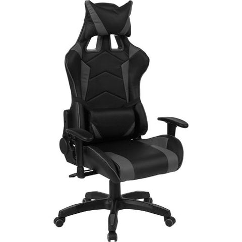 Flash Furniture Cumberland Comfort Series High Back Black and Gray Reclining Racing/Gaming Office Chair with Adjustable Lumbar Support CHCX1064HGG ; Image 1 ; UPC 889142258032