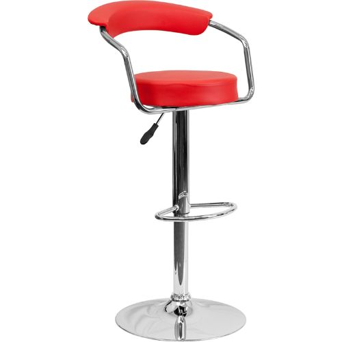 Flash Furniture Contemporary Red Vinyl Adjustable Height Barstool with Arms and Chrome Base CHTC31060REDGG ; Image 1 ; UPC 847254047975