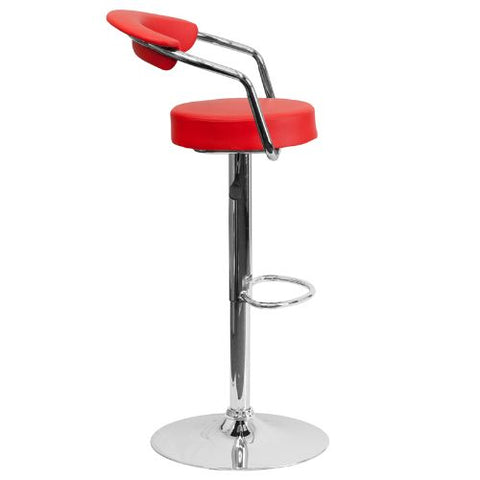 Flash Furniture Contemporary Red Vinyl Adjustable Height Barstool with Arms and Chrome Base CHTC31060REDGG ; Image 3 ; UPC 847254047975