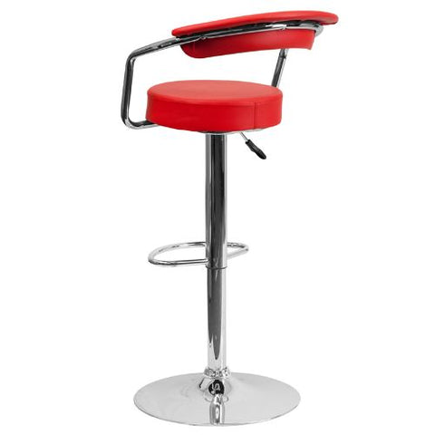 Flash Furniture Contemporary Red Vinyl Adjustable Height Barstool with Arms and Chrome Base CHTC31060REDGG ; Image 4 ; UPC 847254047975