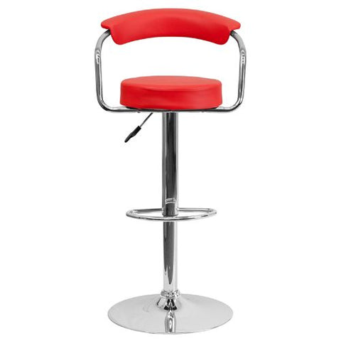 Flash Furniture Contemporary Red Vinyl Adjustable Height Barstool with Arms and Chrome Base CHTC31060REDGG ; Image 5 ; UPC 847254047975