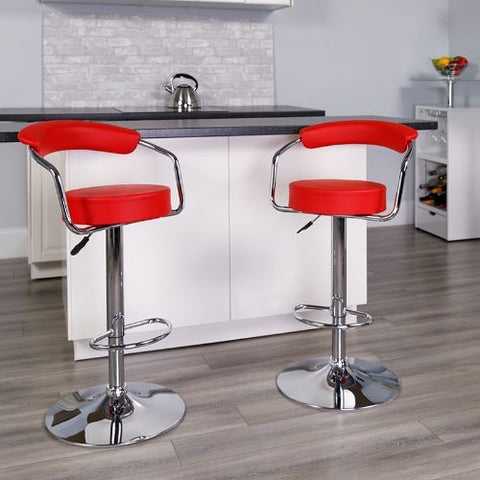 Flash Furniture Contemporary Red Vinyl Adjustable Height Barstool with Arms and Chrome Base CHTC31060REDGG ; Image 2 ; UPC 847254047975