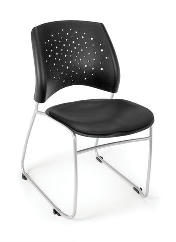 OFM Stars Series Model 325-VAM Anti-Microbial/Anti-Bacterial Vinyl Stack Chair, Black ; UPC: 845123012598 ; Image 1