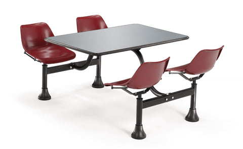 "OFM Cluster Seating Table with 24"" Stainless Steel Top and Maroon Seats ; UPC: 811588012206 ; Image 1"