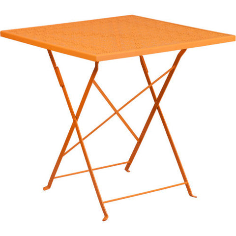 28'' Square Orange Indoor-Outdoor Steel Folding Patio Table; Color: Orange; (UPC: 889142057260)