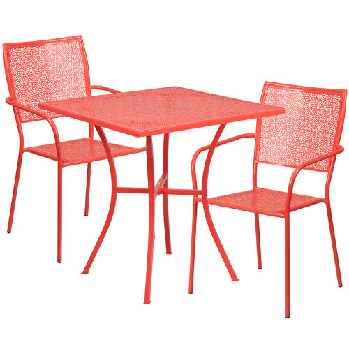 Flash Furniture 28'' Square Coral Indoor-Outdoor Steel Patio Table Set with 2 Square Back Chairs CO28SQ02CHR2REDGG ; Image 1 ; UPC 889142078708