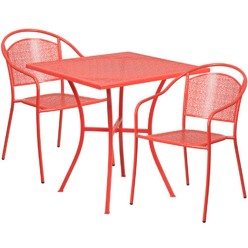 Flash Furniture 28'' Square Coral Indoor-Outdoor Steel Patio Table Set with 2 Round Back Chairs CO28SQ03CHR2REDGG ; Image 1 ; UPC 889142078821