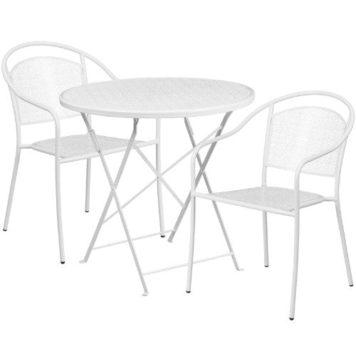 Flash Furniture 30'' Round White Indoor-Outdoor Steel Folding Patio Table Set with 2 Round Back Chairs CO30RDF03CHR2WHGG ; Image 1 ; UPC 889142078562