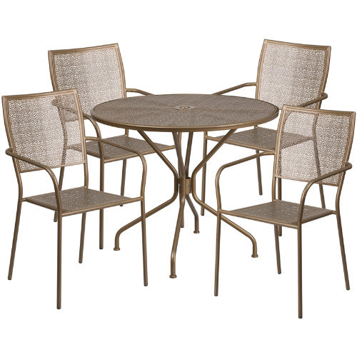 Flash Furniture 35.25'' Round Gold Indoor-Outdoor Steel Patio Table Set with 4 Square Back Chairs CO35RD02CHR4GDGG ; Image 1 ; UPC 889142079231