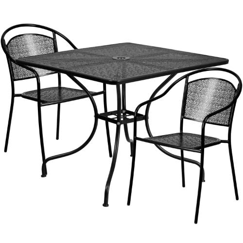 Flash Furniture 35.5'' Square Black Indoor-Outdoor Steel Patio Table Set with 2 Round Back Chairs CO35SQ03CHR2BKGG ; Image 1 ; UPC 889142087854