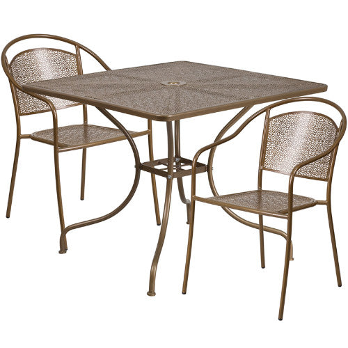 Flash Furniture 35.5'' Square Gold Indoor-Outdoor Steel Patio Table Set with 2 Round Back Chairs CO35SQ03CHR2GDGG ; Image 1 ; UPC 889142079057