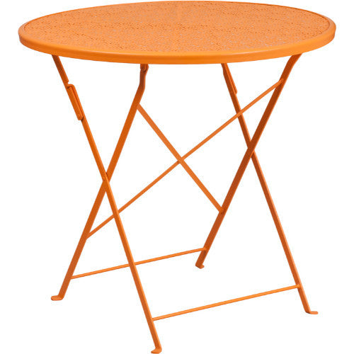 30'' Round Orange Indoor-Outdoor Steel Folding Patio Table; Color: Orange; (UPC: 889142057444)