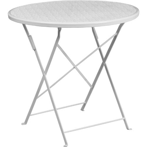 Flash Furniture 30'' Round White Indoor-Outdoor Steel Folding Patio Table CO4WHGG ; Image 1 ; UPC 889142057482