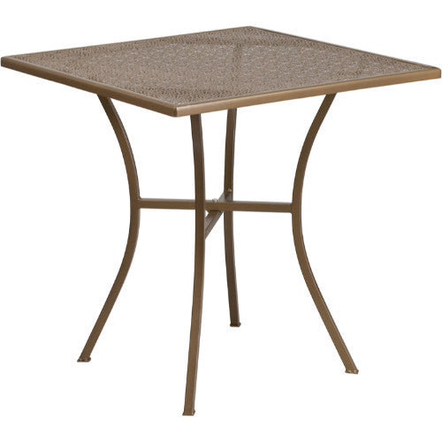 Flash Furniture 28'' Square Gold Indoor-Outdoor Steel Patio Table CO5GDGG ; Image 1 ; UPC 889142057499