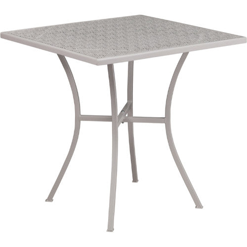 Flash Furniture 28'' Square Light Gray Indoor-Outdoor Steel Patio Table CO5SILGG ; Image 1 ; UPC 889142057529
