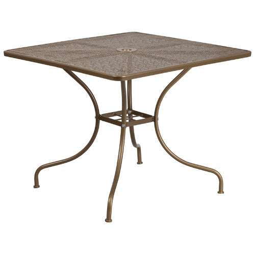 Flash Furniture 35.5'' Square Gold Indoor-Outdoor Steel Patio Table CO6GDGG ; Image 1 ; UPC 889142057550
