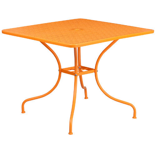 35.5'' Square Orange Indoor-Outdoor Steel Patio Table; Color: Orange; (UPC: 889142057567)