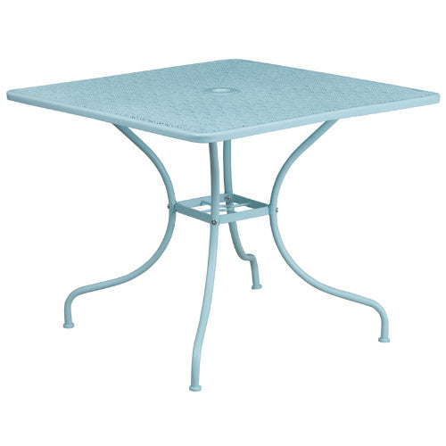 Flash Furniture 35.5'' Square Sky Blue Indoor-Outdoor Steel Patio Table CO6SKYGG ; Image 1 ; UPC 889142057598
