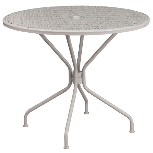 Flash Furniture 35.25'' Round Light Gray Indoor-Outdoor Steel Patio Table CO7SILGG ; Image 1 ; UPC 889142057642
