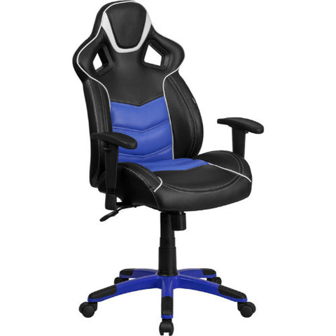 High Back Monterey Blue Vinyl Executive Swivel Office Chair with Inner-Coil Spring Comfort Seat and Blue Base ; UPC: 889142060949 ; Color: Black, Blue