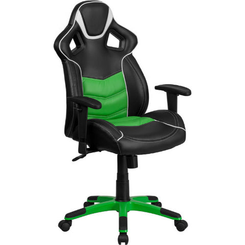 High Back Verde Mantis Green Vinyl Executive Swivel Office Chair with Inner-Coil Spring Comfort Seat and Green Base ; UPC: 889142060963 ; Color: Black, Green