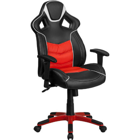 High Back Rosso Corsa Red Vinyl Executive Swivel Office Chair with Inner-Coil Spring Comfort Seat and Red Base ; UPC: 889142060987 ; Color: Black, Red