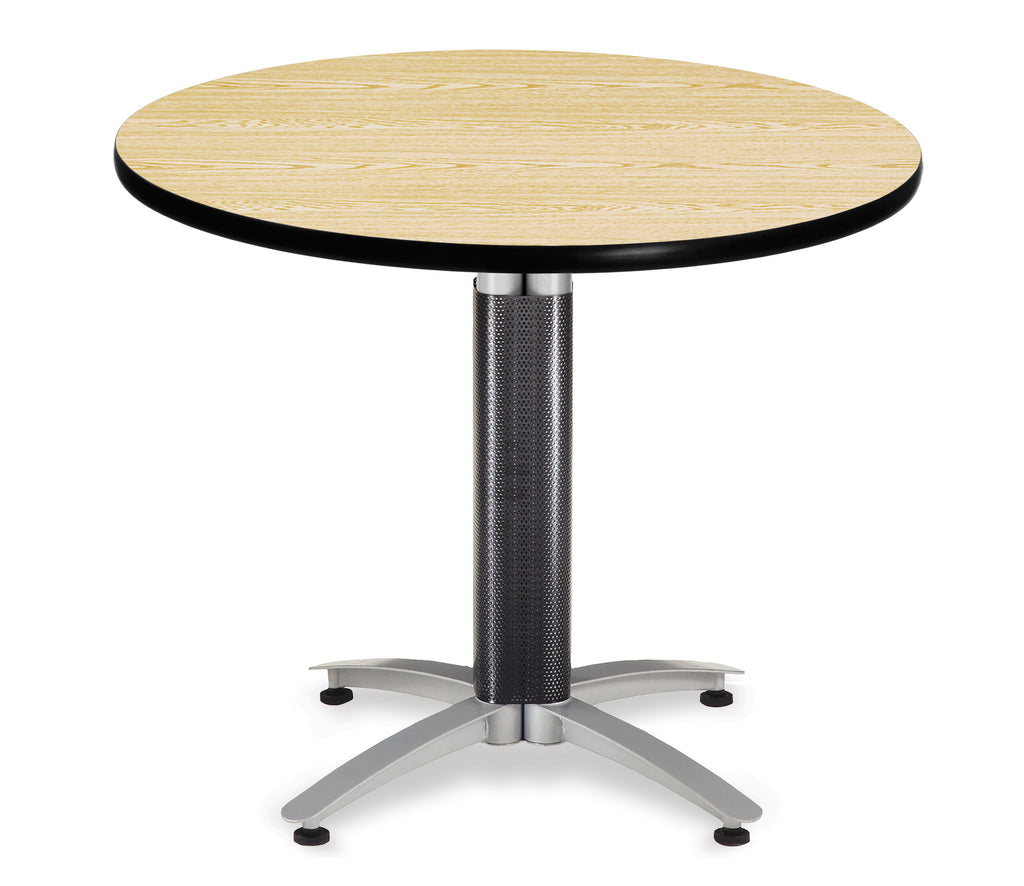 "OFM Model MT36RD 36"" Multi-Purpose Round Table with Metal Mesh Base, Oak ; UPC: 811588010349 ; Image 1"