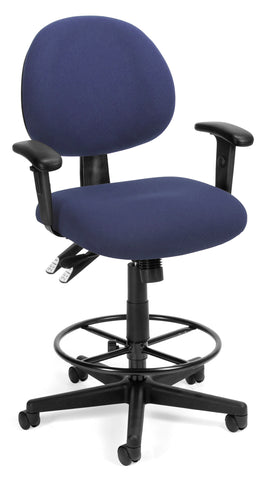 OFM 241-AA-DK 24 Hour Ergonomic Upholstered Task Chair with Arms and Drafting Kit, Blue ; UPC: 845123012437 ; Image 1