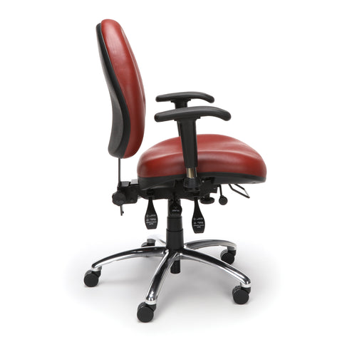 OFM Model 247-VAM 24 Hour Big and Tall Ergonomic Computer Swivel Task Chair with Arms, Anti-Microbial/Anti-Bacterial Vinyl, Wine ; UPC: 811588010295 ; Image 4