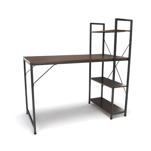 Essentials by OFM ESS-1004 Combination Desk with 4 Shelf Unit, Walnut with Gray Frame ; UPC: 845123095461 ; Image 1