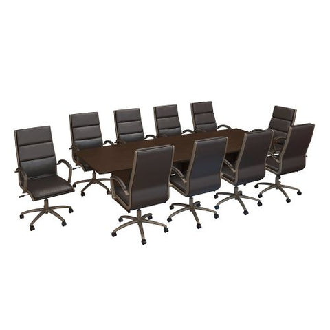 Bush Business Furniture 120W x 48D Boat Shaped Conference Table with Wood Base and Set of 10 High Back Office Chairs in Mocha Cherry (CTB004MR) ; Image 1