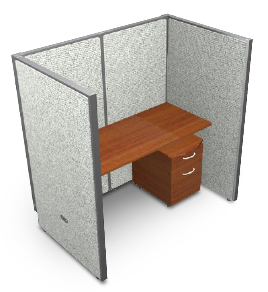 "OFM RiZe Series 63"" x 60"" 1-Unit Full Vinyl Privacy Station Panel System, 1 x 1 Configuration, Gray with Cherry Desk ; UPC: 845123000564 ; Image 1"